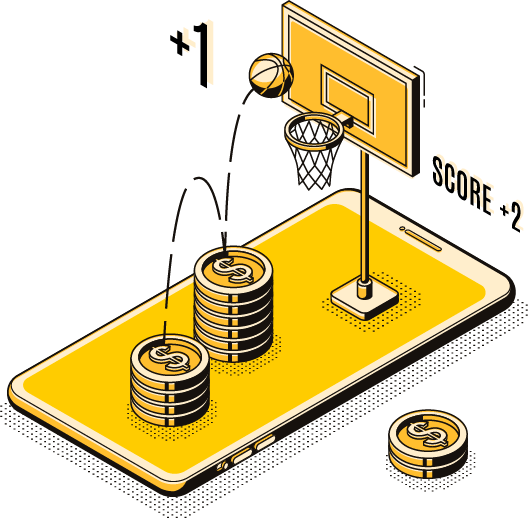 Mobile phone with basketballl basket drawn on top