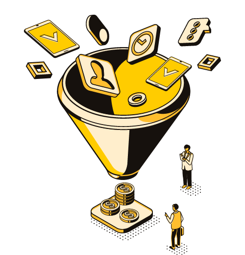 Marketing funnel converting inputs to money