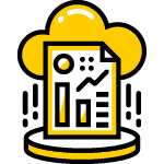 Cloud icon with data diagram report